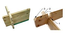 Rohový srubový spoj stěnovnic: síla stěny 28 mm